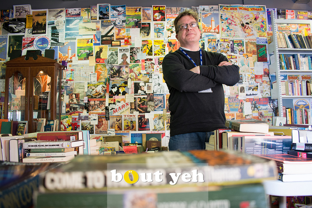 Linenhall Library bookstore manager, Belfast. Photo 2539.