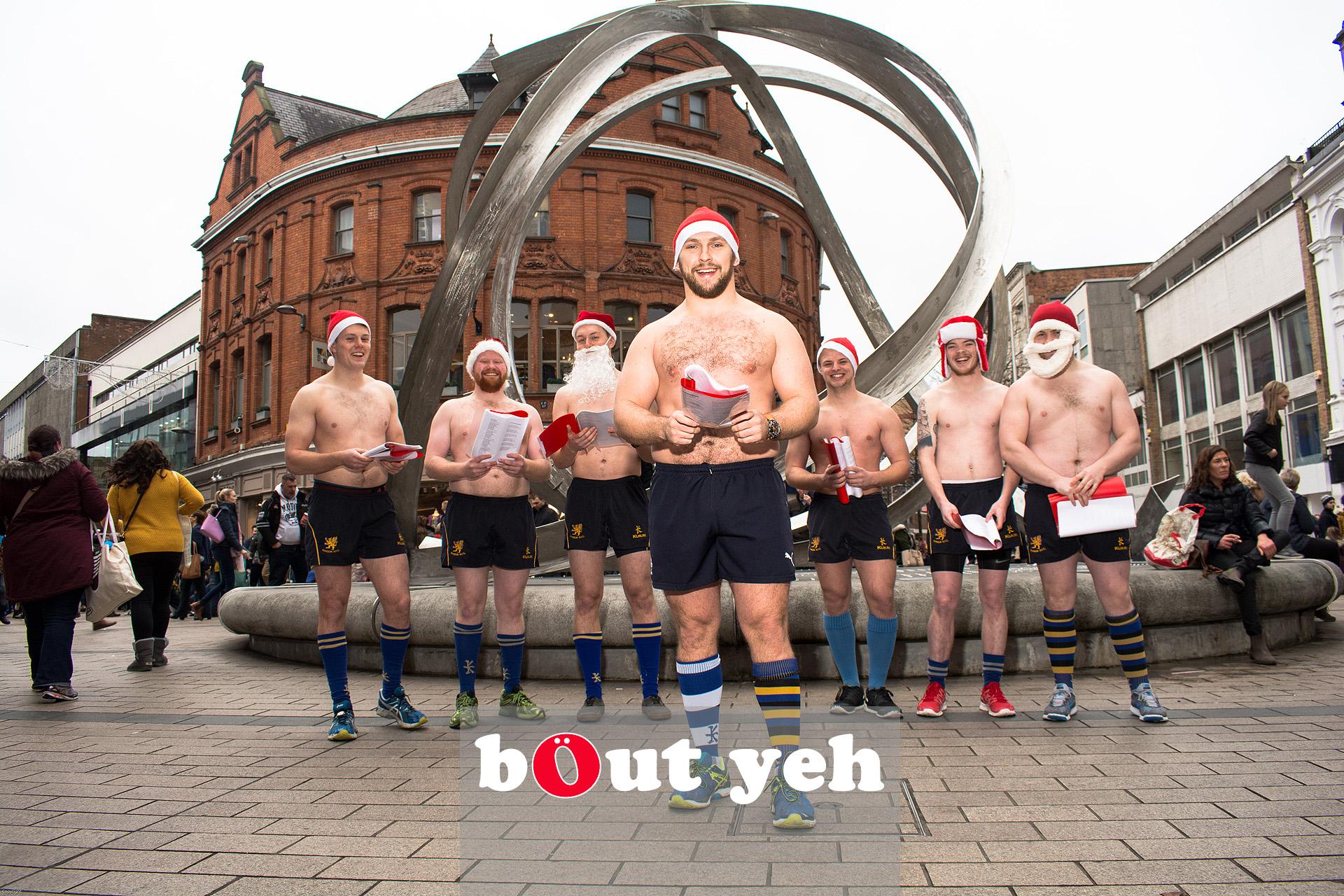 Bangor Rugby Club members sing Christmas Carols for charity in Belfast. Photo 3202.