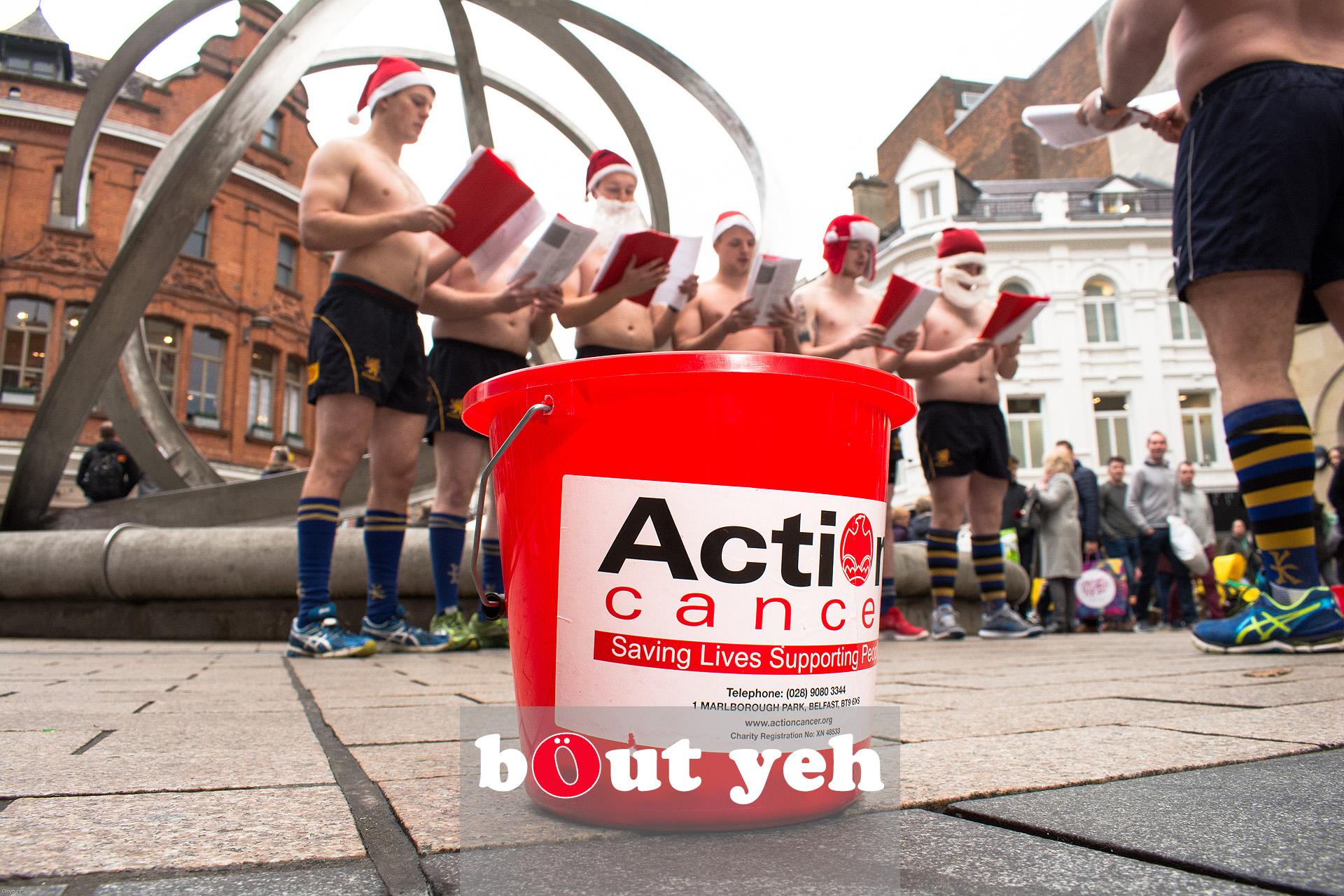 Bangor Rugby Club members singing Christmas Carols for charity in Belfast. Photo 3204.