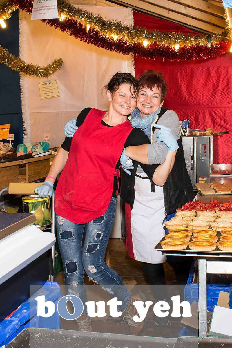 Workers at Belfast Christmas Market enjoying their work. Photo 3288.