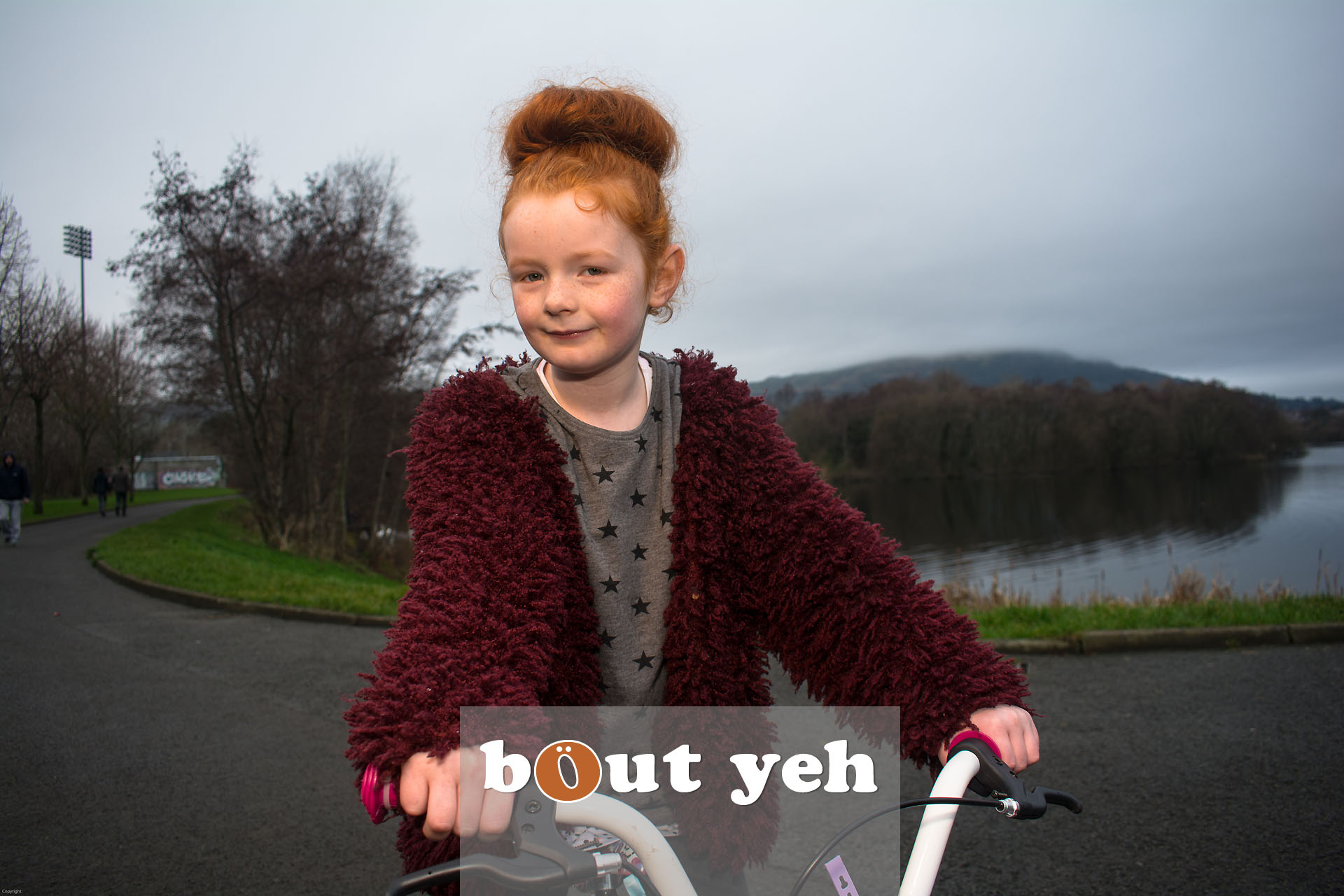 Red haired girl and bike, Waterworks, Belfast, Northern Ireland - bout yeh photographers Belfast photo 3994.