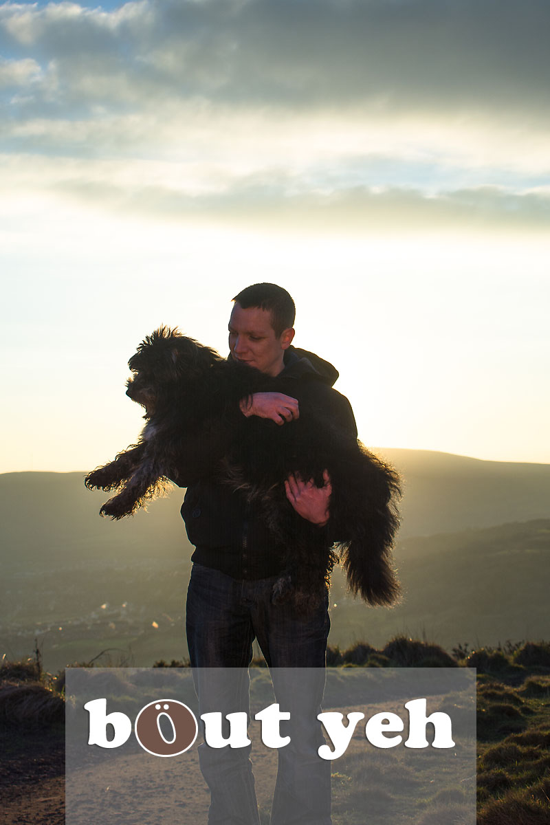 Man carries his dog for last walk on Cave Hill, Belfast, Northern Ireland - photo 4080.