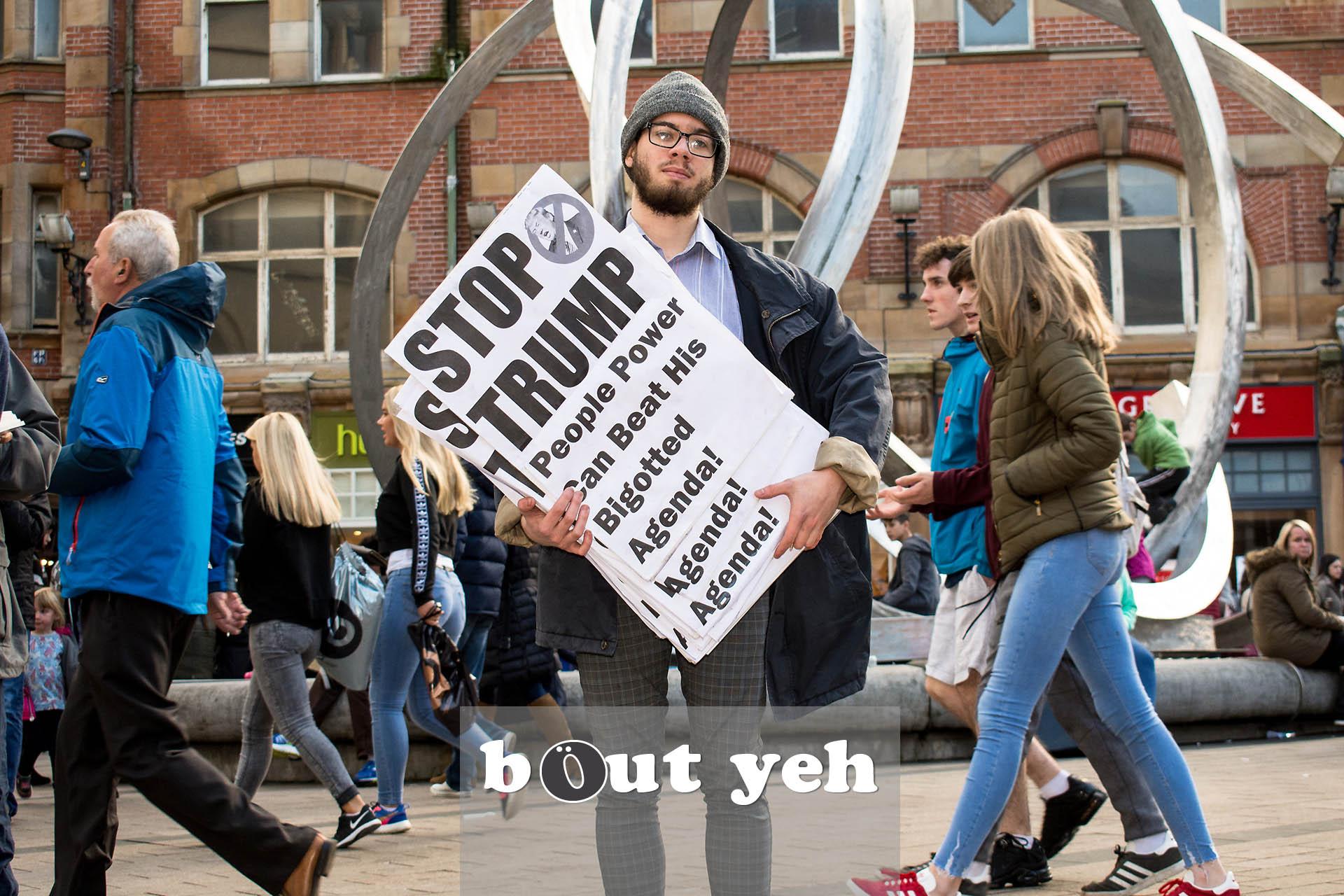 Anti Trump protestor, Cornmarket, Belfast - photo 2738.