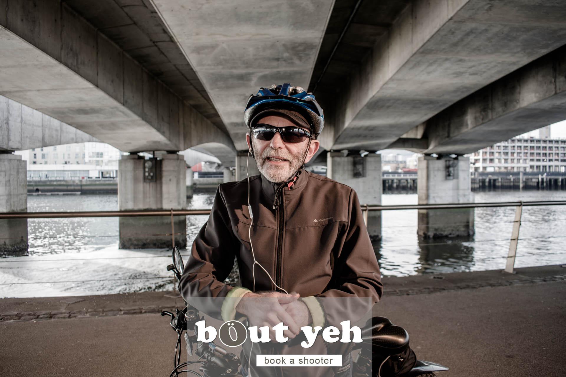 Jerry with bike under Dargan Bridge, Belfast - photo 5055.