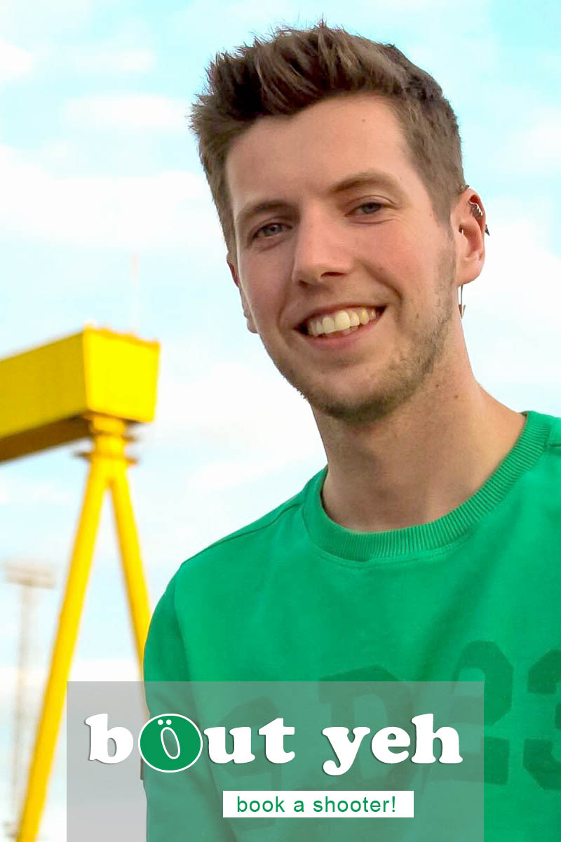 Ryan pictured in front of Harland and Wolff shipyard, Belfast .