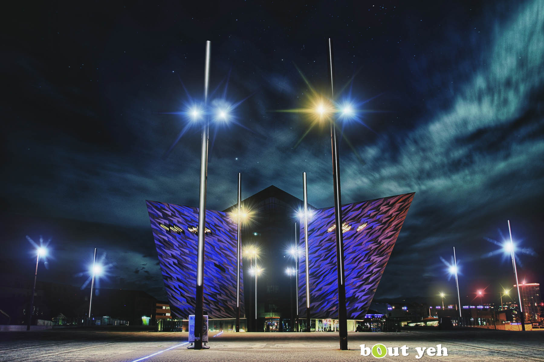 Titanic Belfast exterior from the back, at night, Northern Ireland.