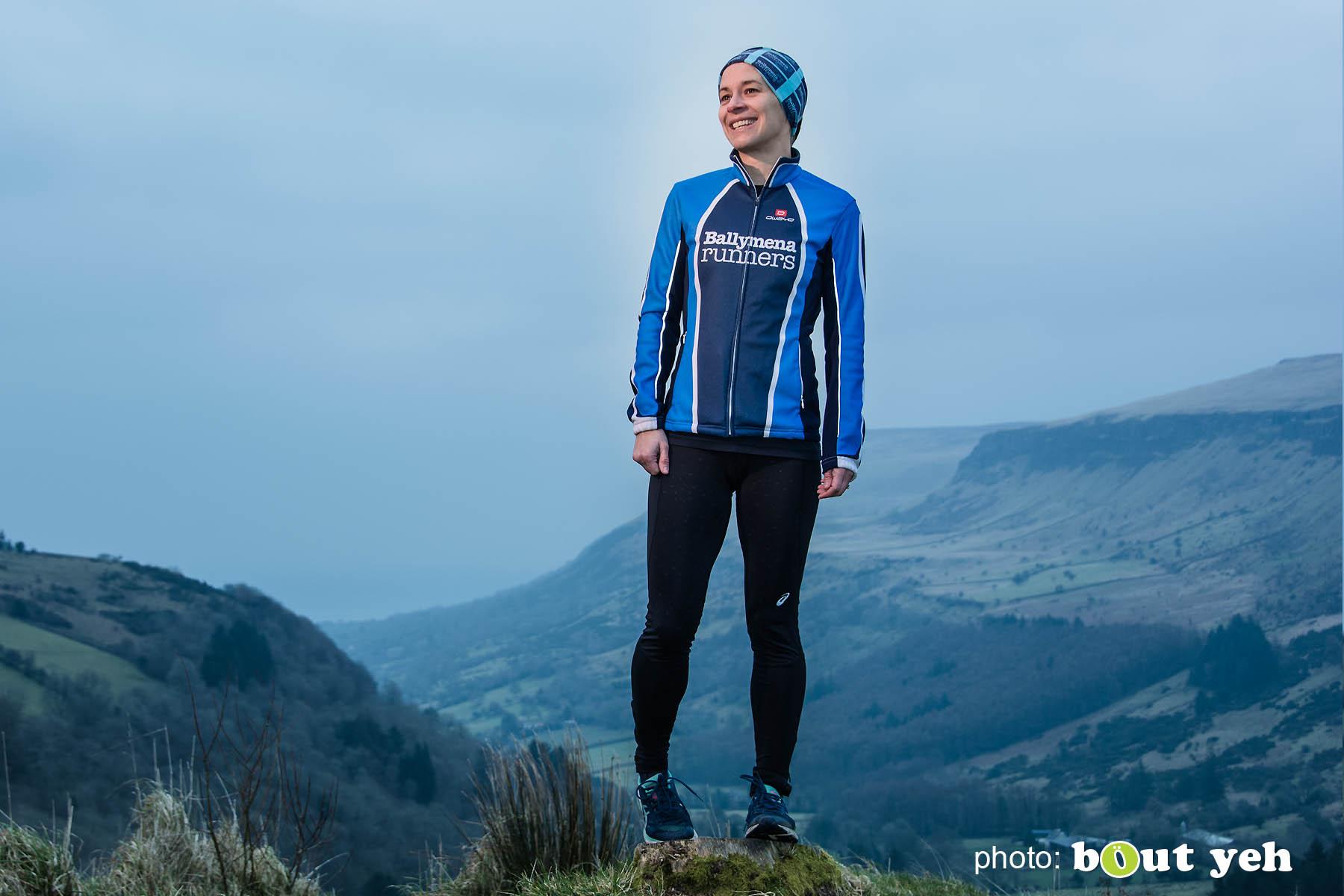 Ruth, of Ballymena Runners, at Glenariff Forest, Northern Ireland. Photo 0597.