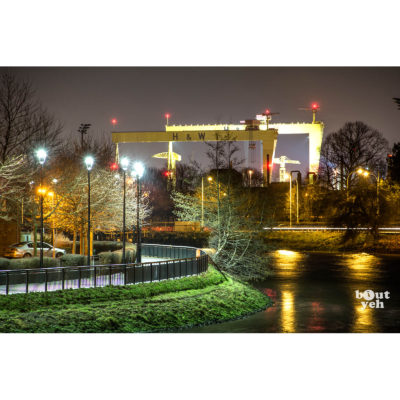 Photograph of Harland and Wolff Cranes reflected in the River Lagan, Belfast, Northern Ireland. Photo by Stephen S T Bradley. Photo reference 0329, 3x2 ratio.