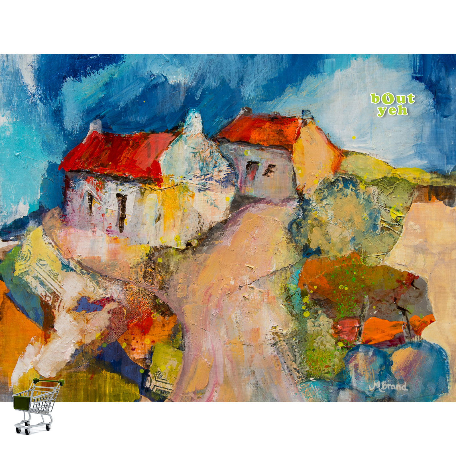 Irish landscape painting, County Down, with shopping cart icon - photo 5614.