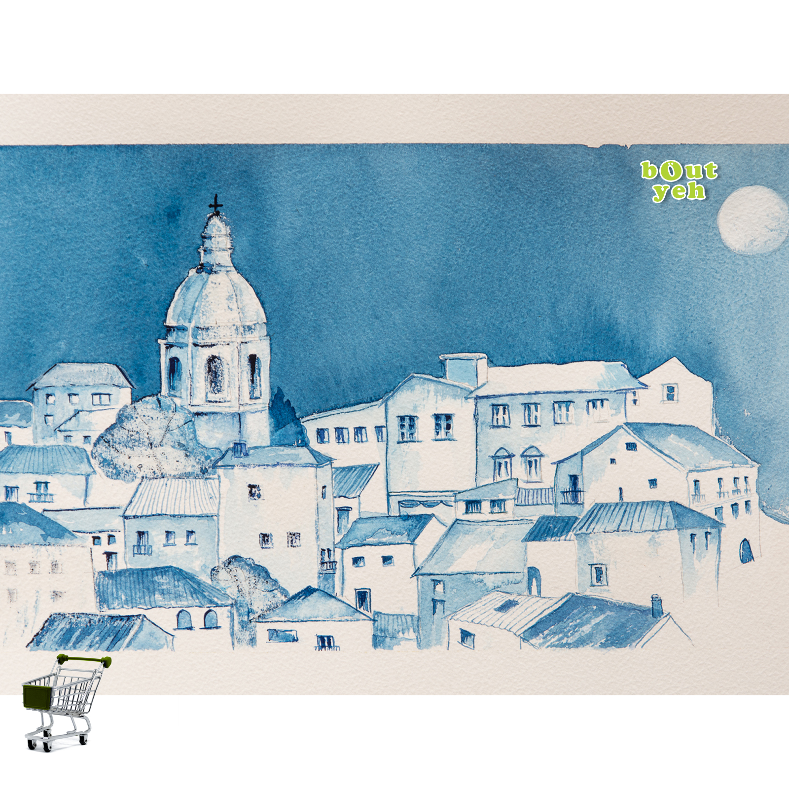 Landscape watercolour painting of Milan, with shopping cart icon - photo 5617.