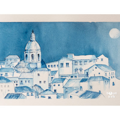 Italian landscape painting, Milan Blue, by Irish artist Margaret Brand.