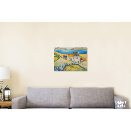 Irish landscape painting, Stone Wall, by Irish artist Margaret Brand. Painting shown in room setting.