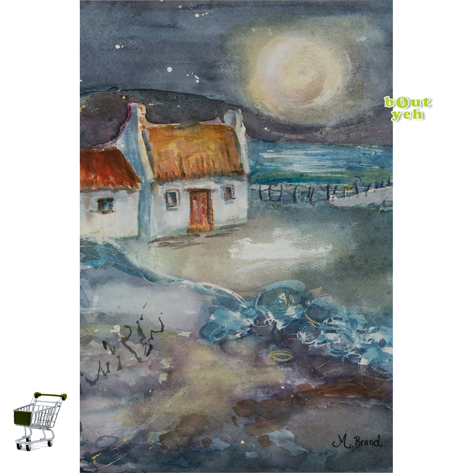 Irish landscape painting with shopping cart icon - photo 5627. Bout Yeh photographers art gallery Belfast Northern Ireland.