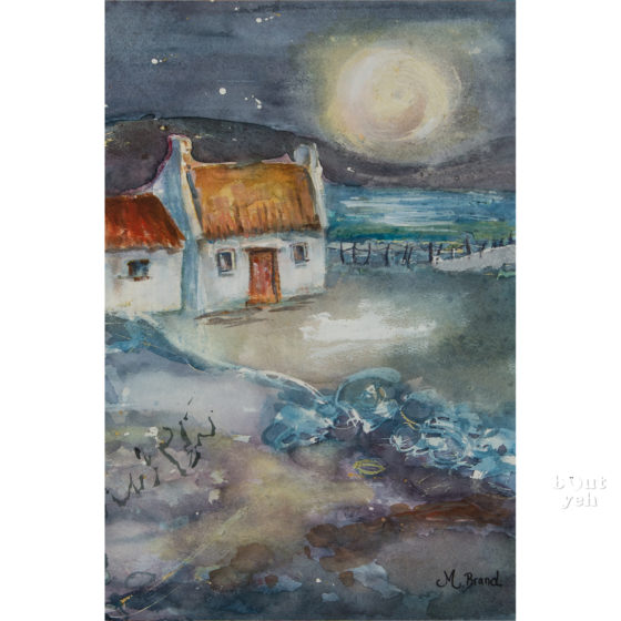 Irish landscape painting, Starry Night, by Irish artist Margaret Brand.