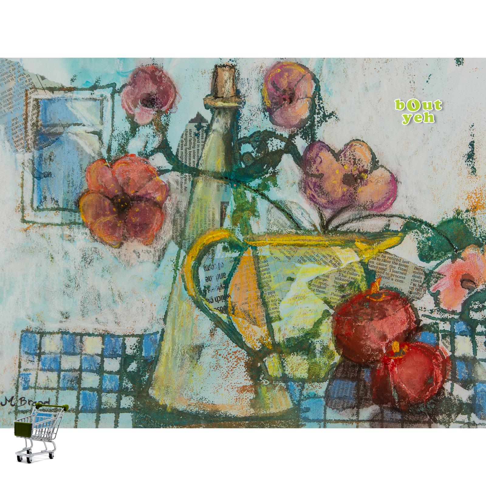 Irish art mixed media painting, with shopping cart icon - image 5629.
