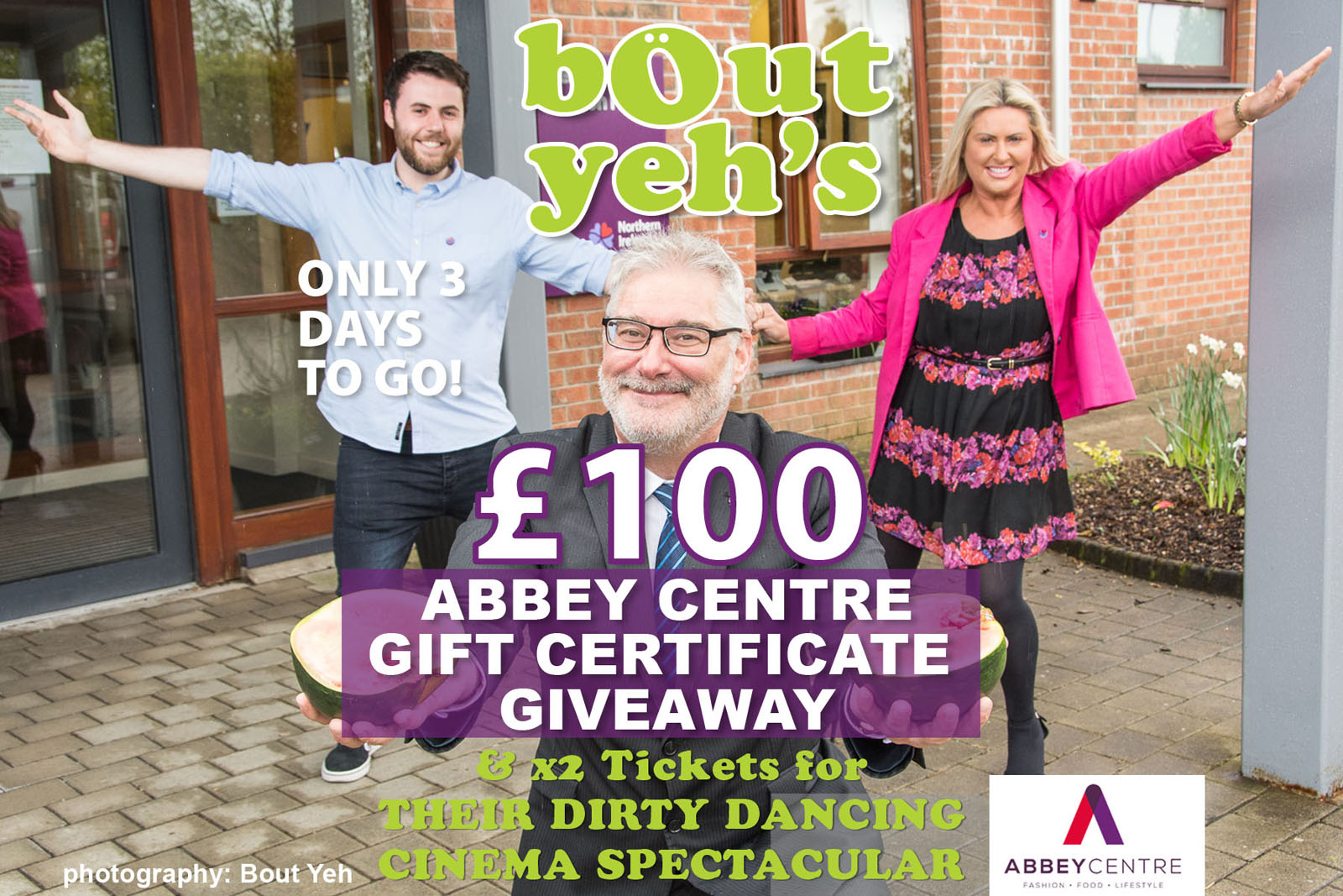 Social Media Marketing Consultants Belfast - Abbey Centre campaign photo 1847. Photo by Bout Yeh used in a Social Media Marketing campaign across Bout Yeh's Social Media platforms for Abbey Centre Northern Ireland.