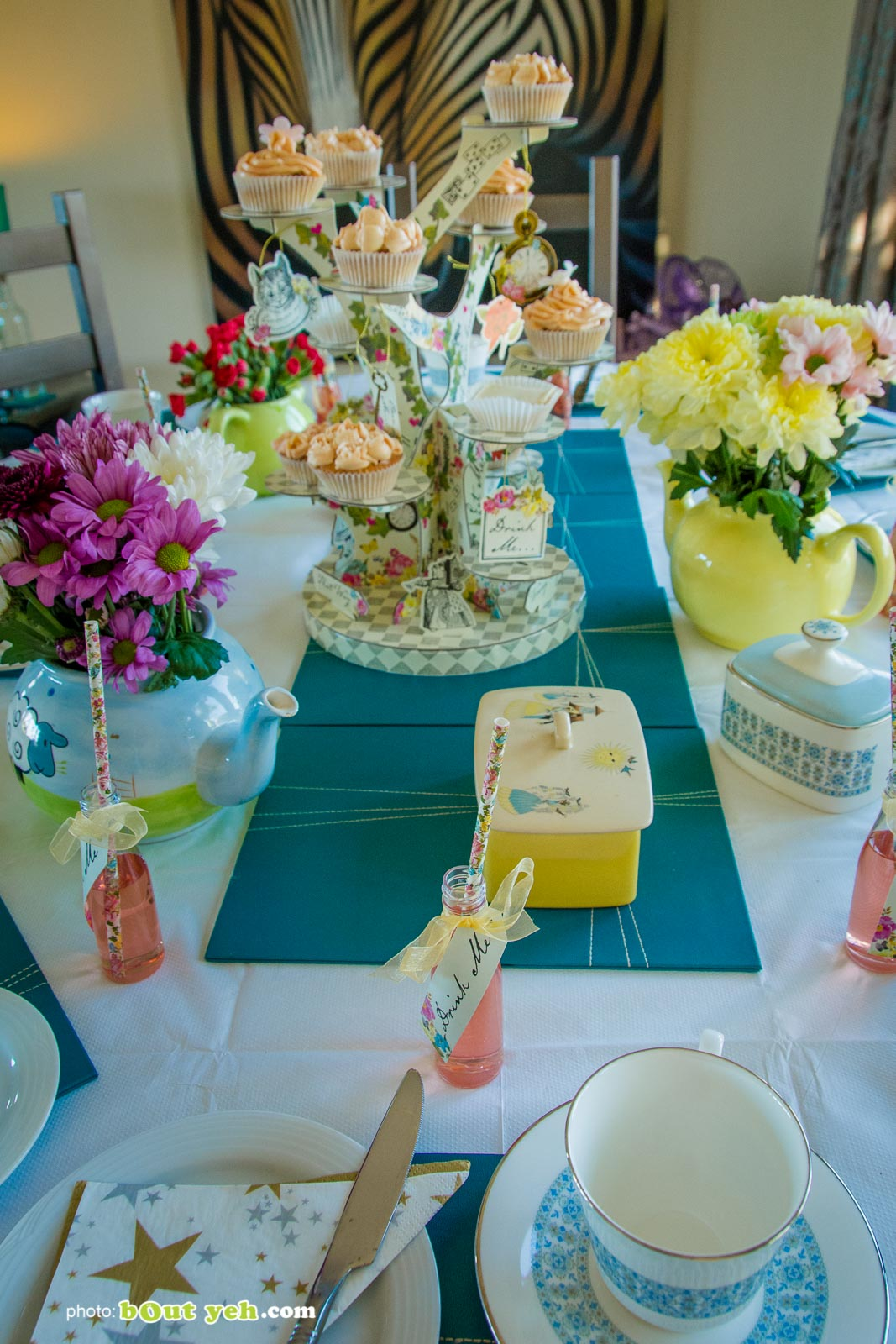 Alice In Wonderland themed party table at the Bout Yeh Brexit Mad Hatters Tea Party - photo 9229 by Bout Yeh photographers and video production Belfast Northern Ireland