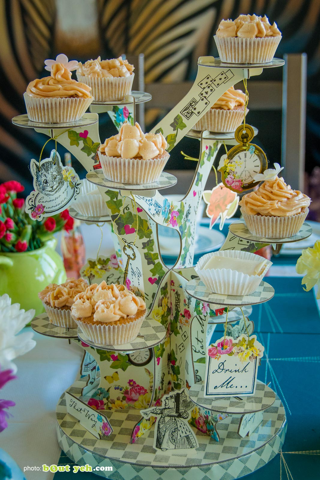 Alice In Wonderland themed cake stand at the Bout Yeh Brexit Mad Hatters Tea Party - photo 9230 by Bout Yeh photographers Belfast