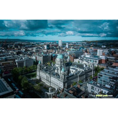 Belfast city centre including Belfast City Hall and Harland and Wolff shipyard - photo 7461 photo print for sale.
