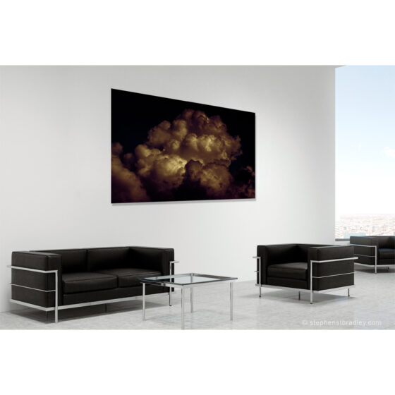 Burnt Marshmallow - limited edition photographic print in room setting of clouds over Newtownabbey, Northern Ireland