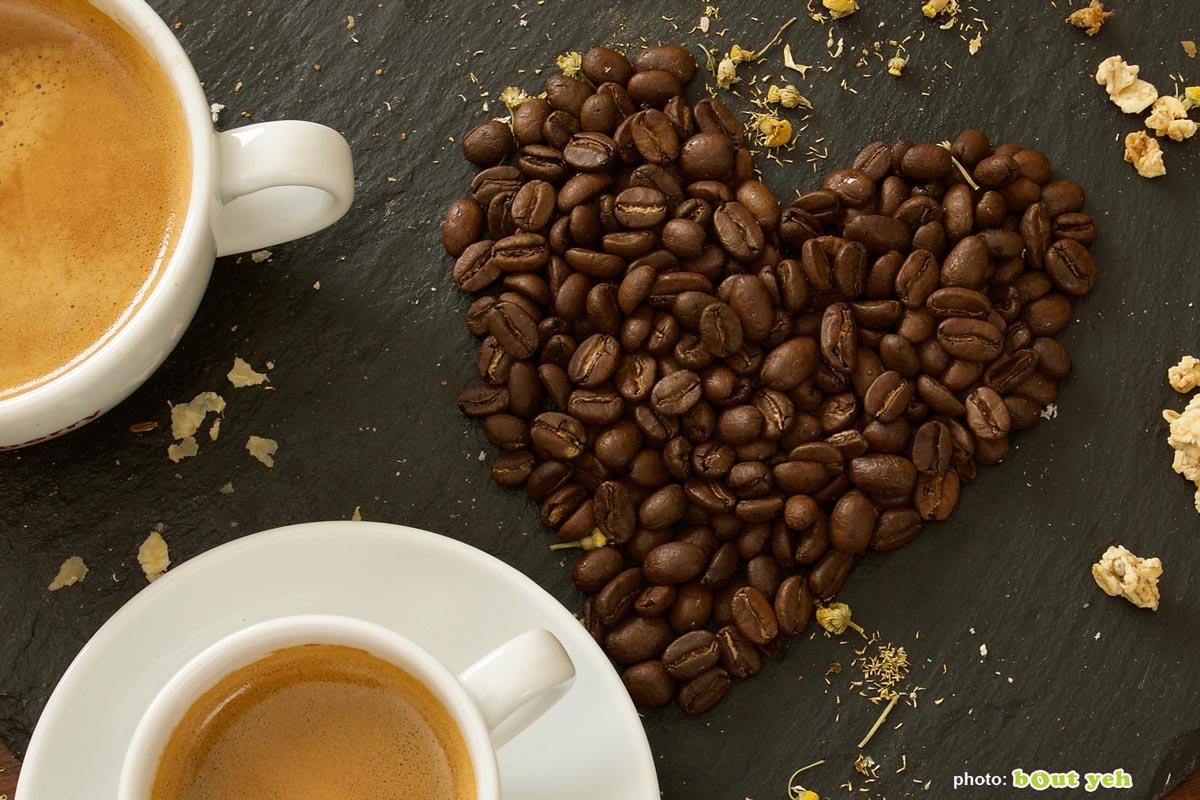 Food photographers Belfast portfolio photo 1410 - coffee beans in heart shape beside coffee in cups,