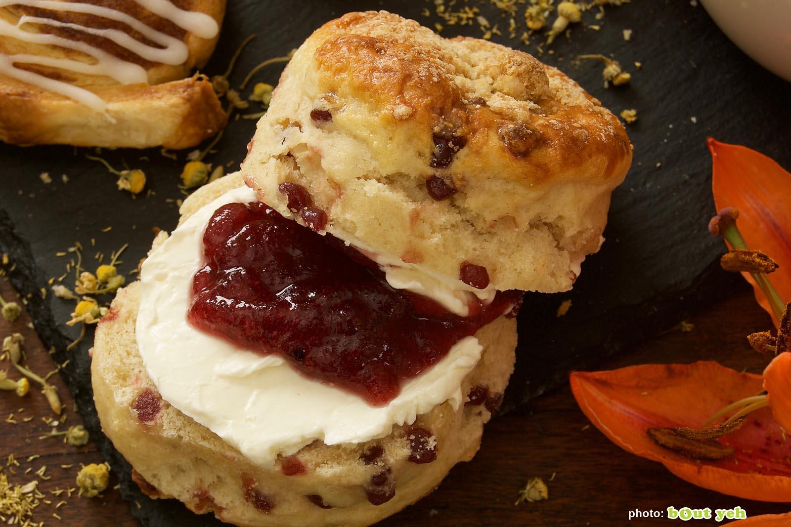 Food photographers Belfast portfolio photo 1353 - fruit scone with jam and fresh cream
