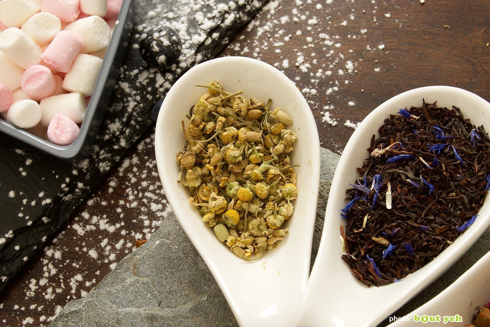 Food photographers Belfast portfolio photo 1384 - selection of herbal tea ingredients in measuring bowls