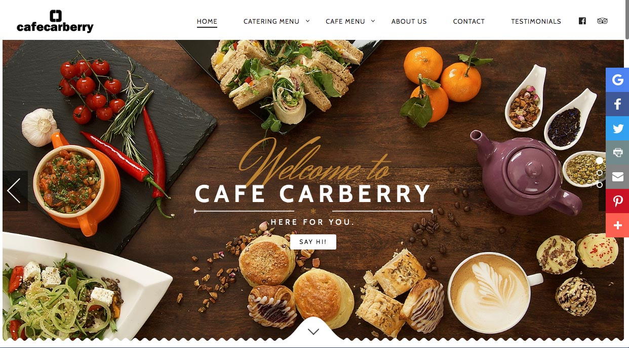 Food photographers Belfast - food photography for Cafe Carberry Belfast within a page on clients web site. Image 1