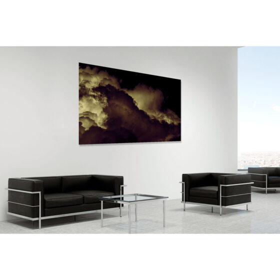 Rebirthed - limited edition photo in room setting of clouds over Glencorp, County Antrim, by photographer Stephen S T Bradley