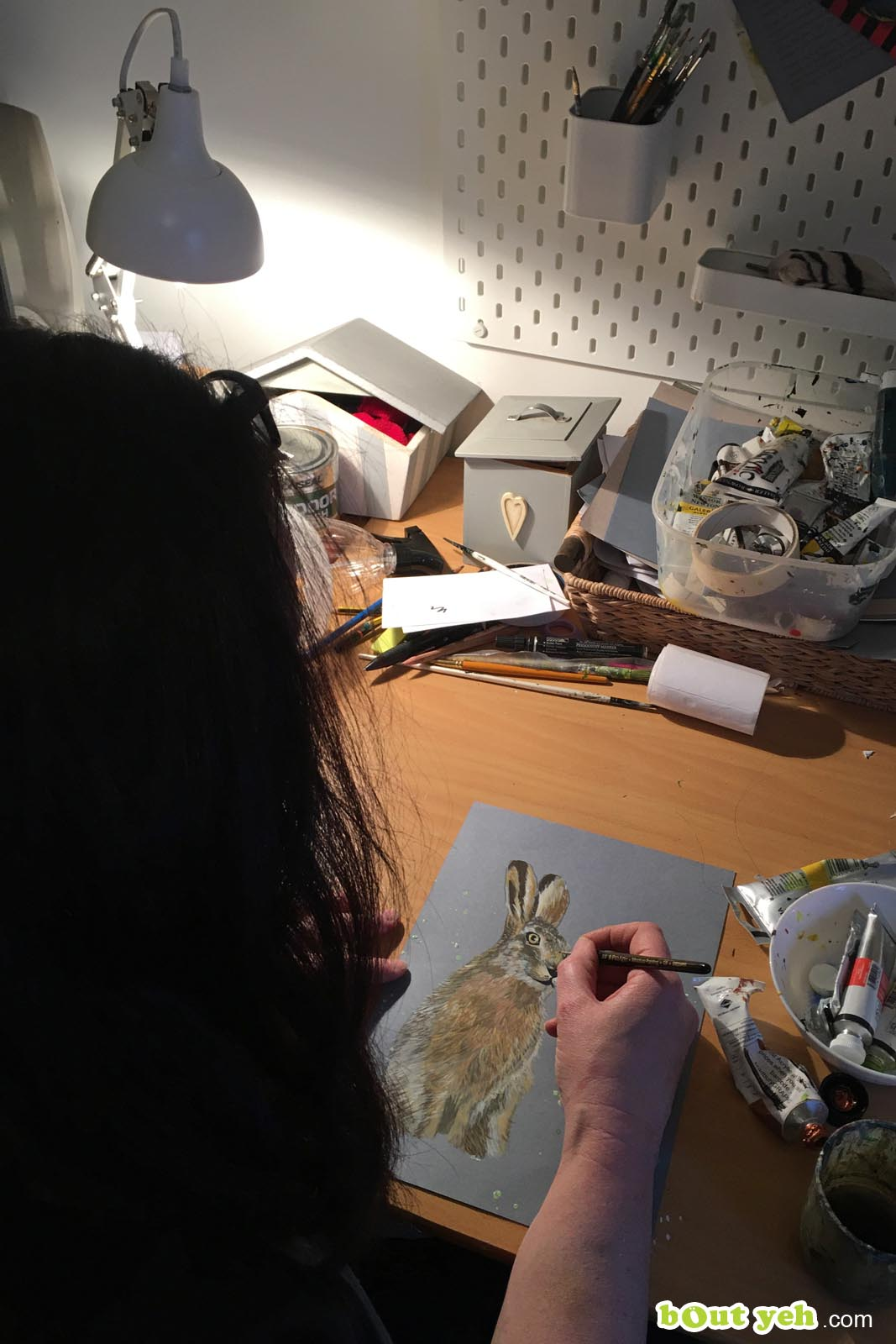 Sandra Shaw artist painting in her studio - photo 2 shared by Bout Yeh photography and video production services Belfast