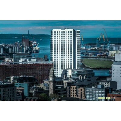 Obel Tower and Albert Clock Belfast photographed from Grand Central Hotel - photo 7471 print for sale.