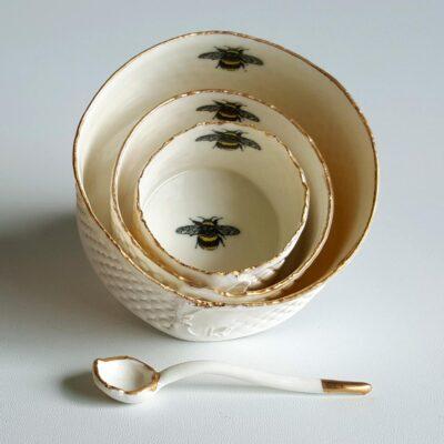 Irish Ceramics Stonewear Porcelain Ramekin Dish with Gold Lustre Rim by Red Earth Designs 134309