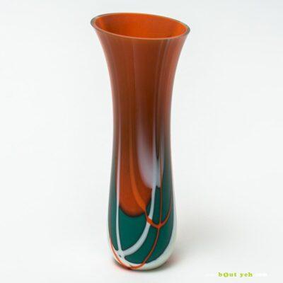 Contemporary green, white, orange tulip vase - Irish glassware TV(COI – O)001