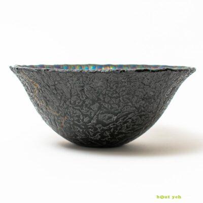 Iridised peacock pattern black glass bowl - Irish hand made glassware photo 1548