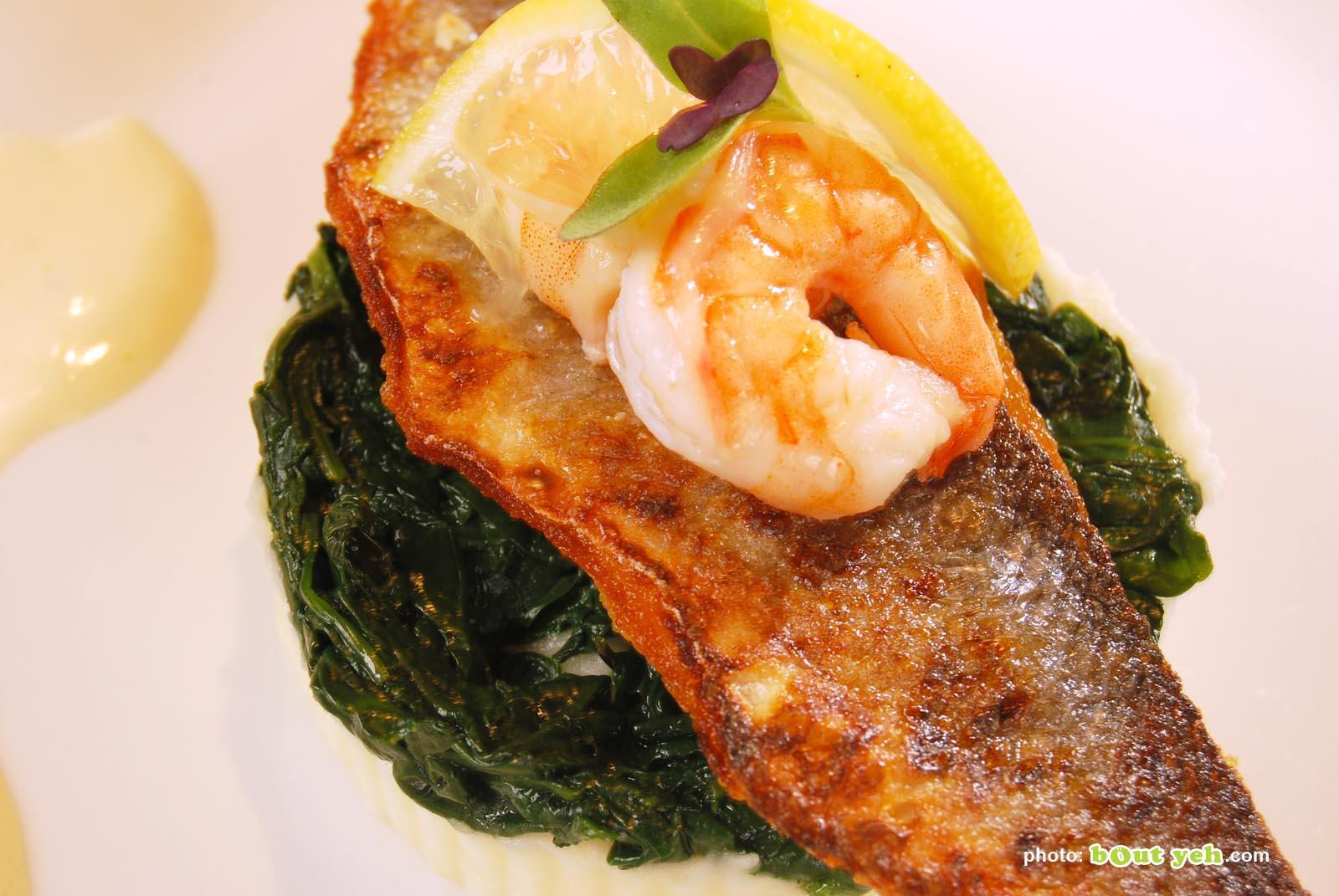 Food photographers Belfast portfolio photo 0854 - fish dish with prawn and lemon garnish