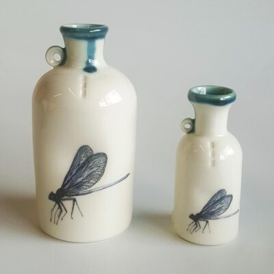 Range of ceramic specimen bottles with dragonfly decal. Irish ceramics and porcelain for sale by Bout Yeh art and crafts gallery Belfast and Dublin, Ireland