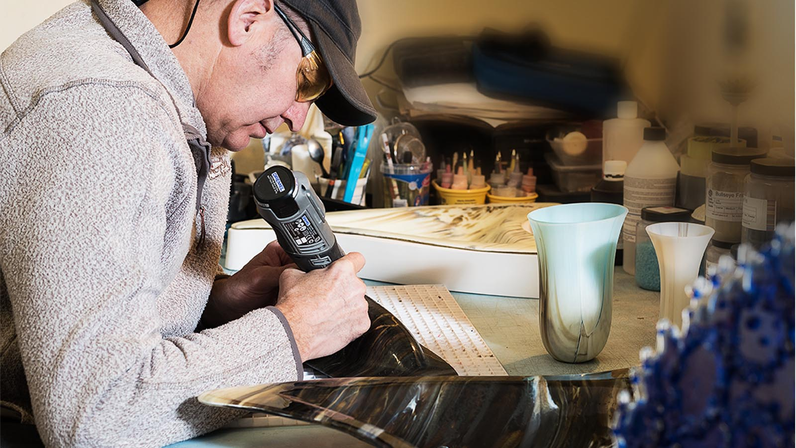 Keith Sheppard glassware artisan, pictured at work in his Portadown studio - photo shared by Bout Yeh photographers Belfast