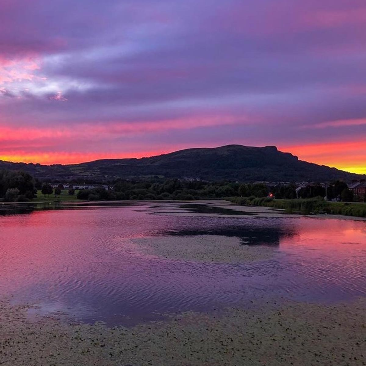 Red sunset behind Cave Hill, Northern Ireland - photo 1396