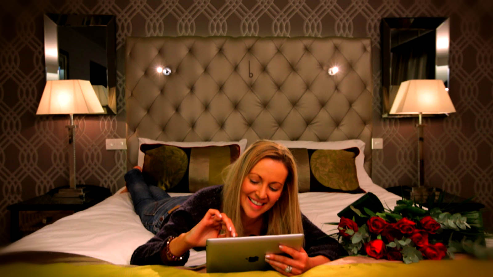 Cinema commercial for Benedicts of Belfast showing young woman in one of the hotel's bedroom suites - Bout Yeh video production Belfast, Northern Ireland
