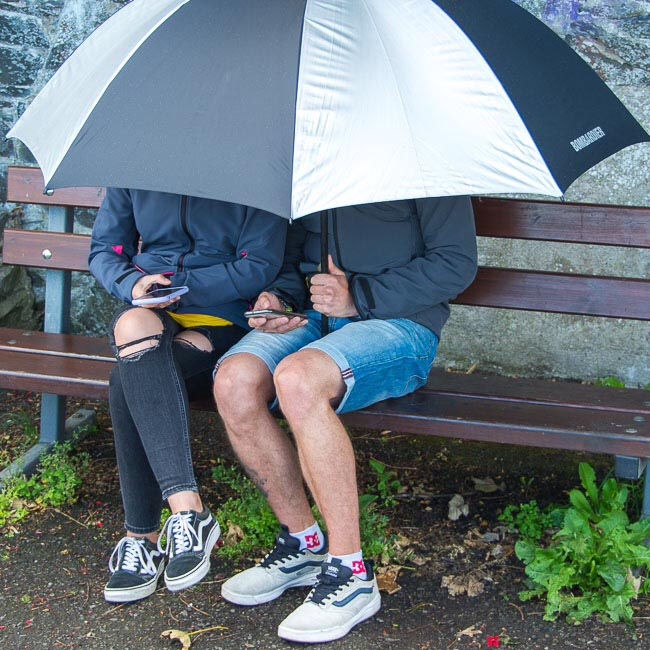 Young couple using mobile phones as they shelter under umbrella at Crawfordsburn Country Park - photo 1425