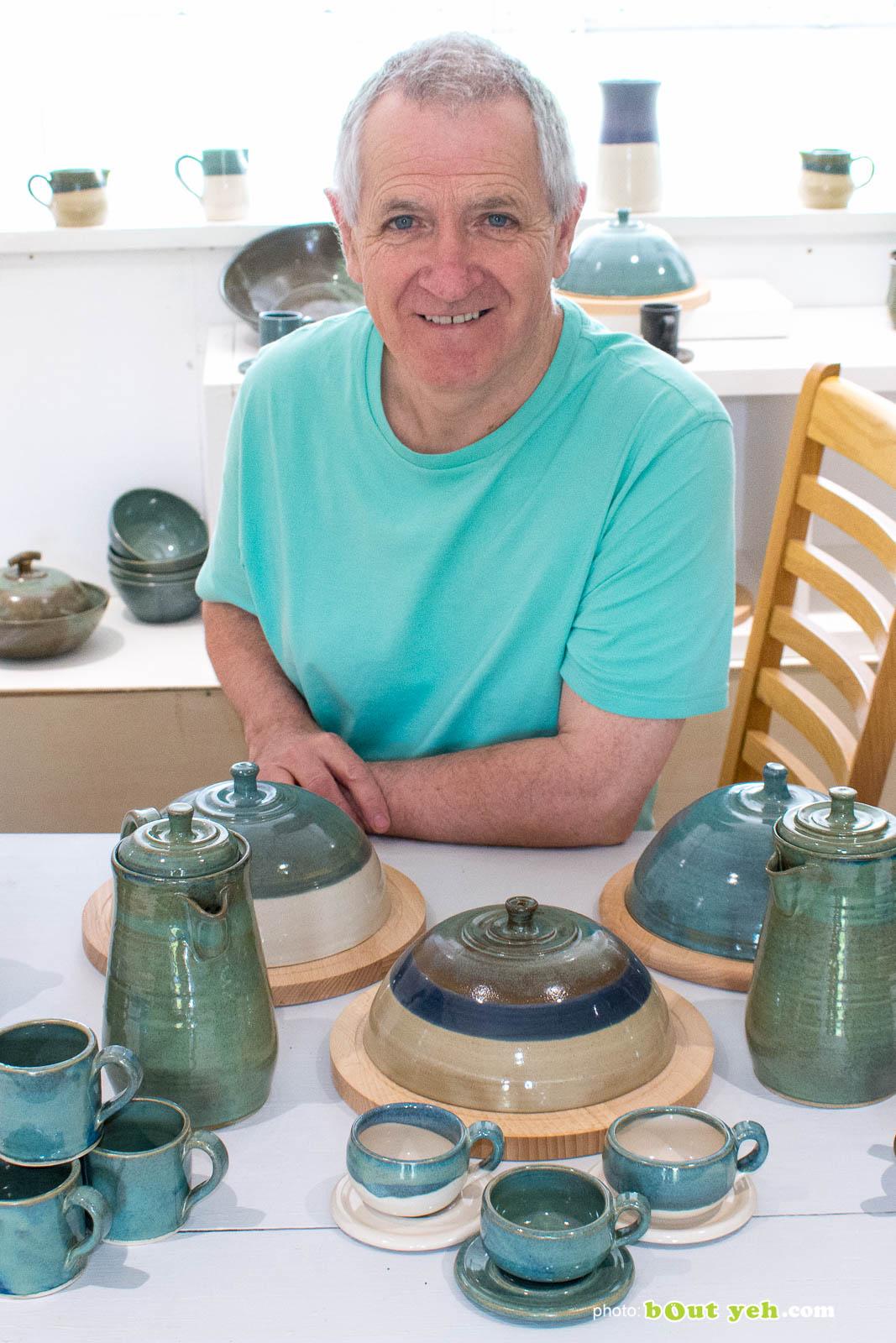 Photograph of potter Ciaran Headley in his studio in Crumlin, Northern Ireland. Photo 1500