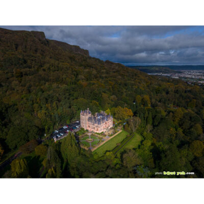 Aerial photograph of Belfast Castle and Cave Hill in autumn - photo 0001 in white square