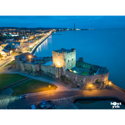 Aerial photo of Carrickfergus Castle at night - photo 0182 for sale by Bout Yeh art gallery Belfast and Dublin, Ireland