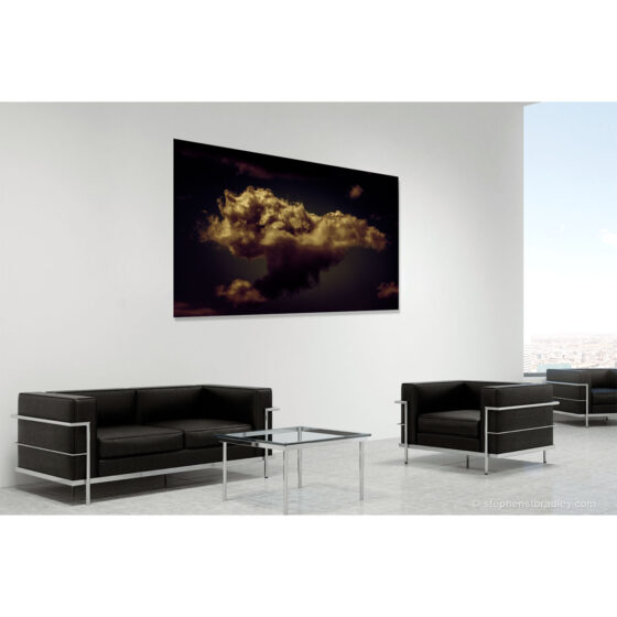 Flitter - limited edition photo in room setting of clouds over Newtownabbey by photographer Stephen S T Bradley