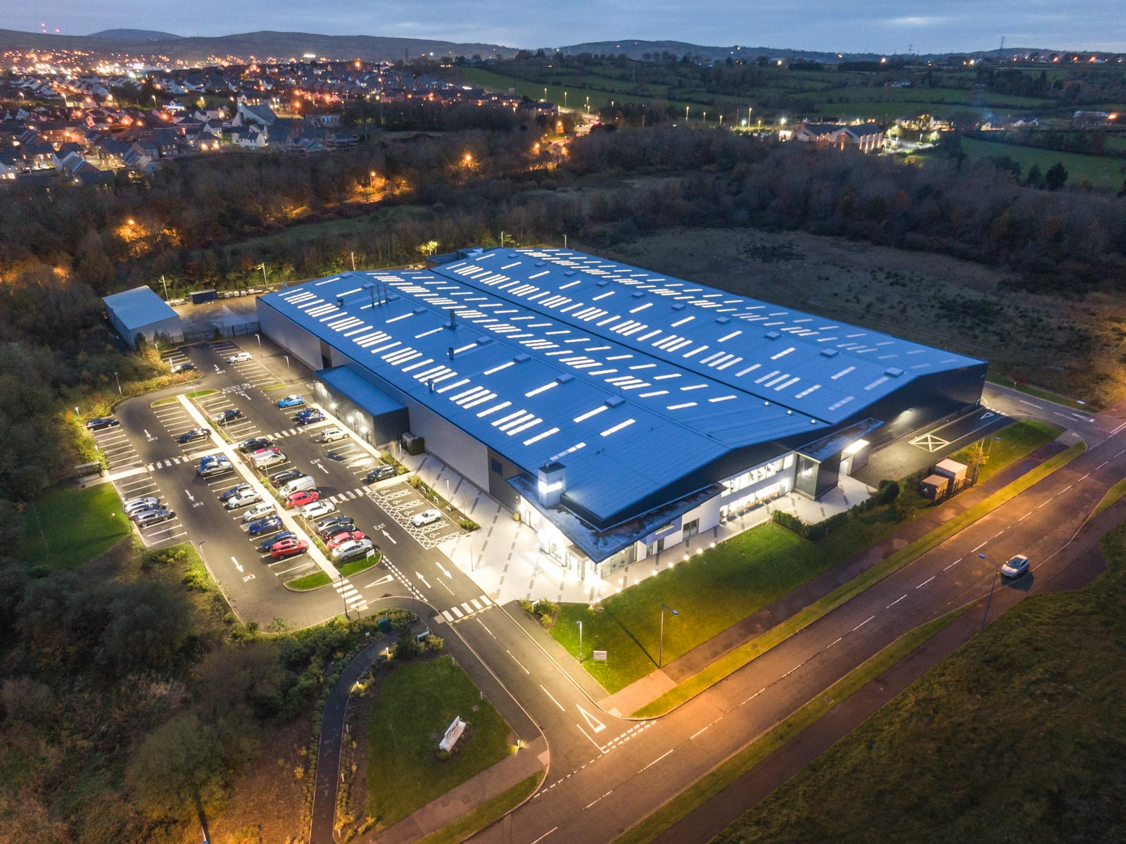 Aerial photograph of the RLC Group building in Newtownabbey by Bout Yeh drone photography and video production - image 0001