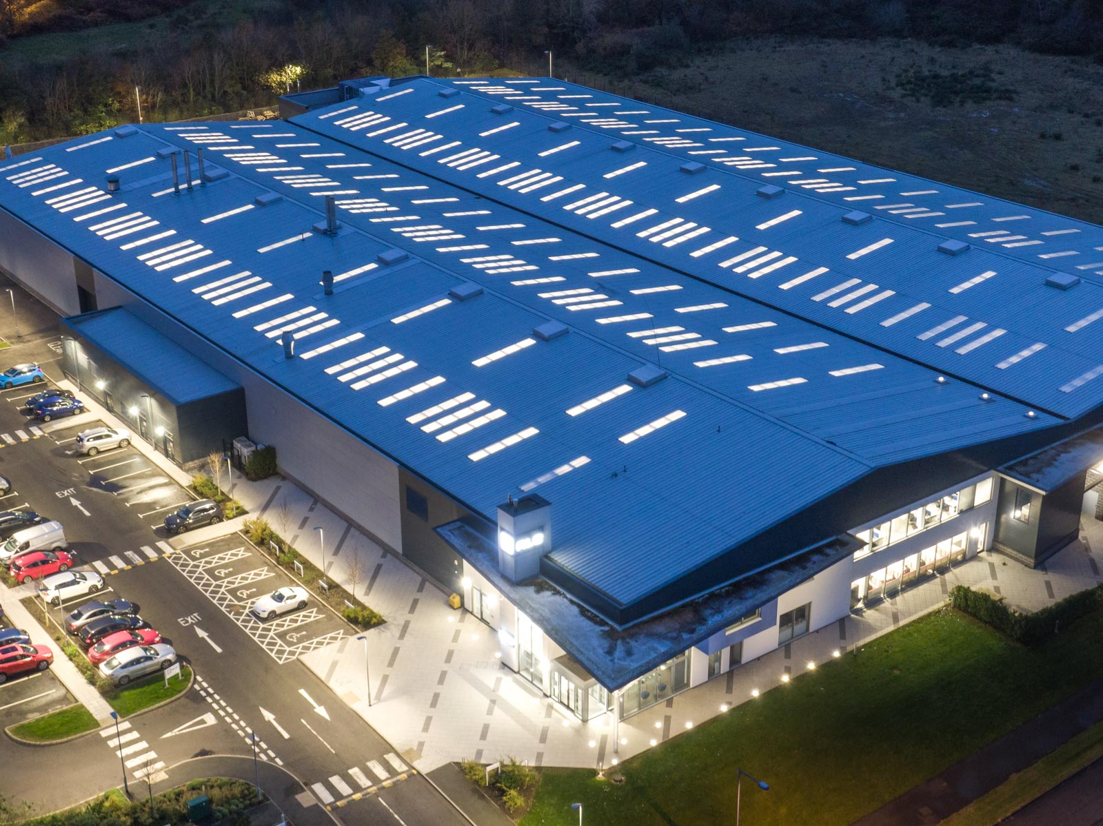 Aerial photograph of the RLC Group building in Newtownabbey by Bout Yeh drone photography and video production - image 0002
