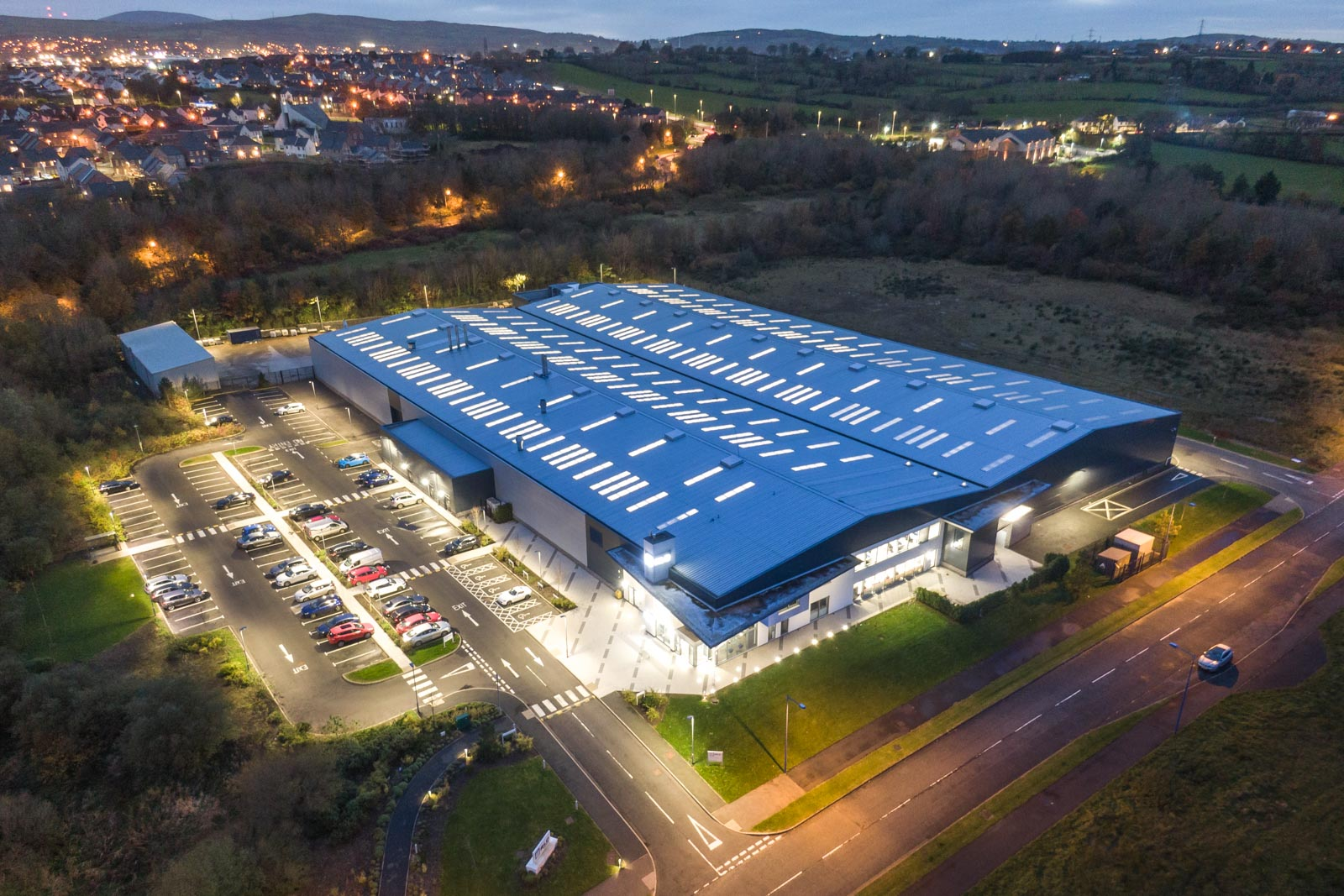 Aerial photograph of the RLC Group building in Newtownabbey by Bout Yeh drone photography and video production - image 0005