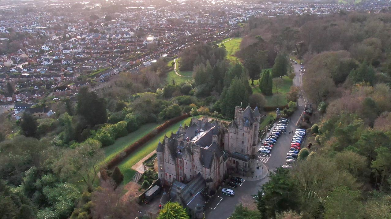 Screenshot of aerial video 3 of Belfast Castle, Belfast, by Bout Yeh drone photography and video production Northern Ireland - image 5