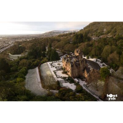 Aerial photograph of Belfast Castle surrounded by snow in winter by Bout Yeh photographers Belfast. Photo 311220.