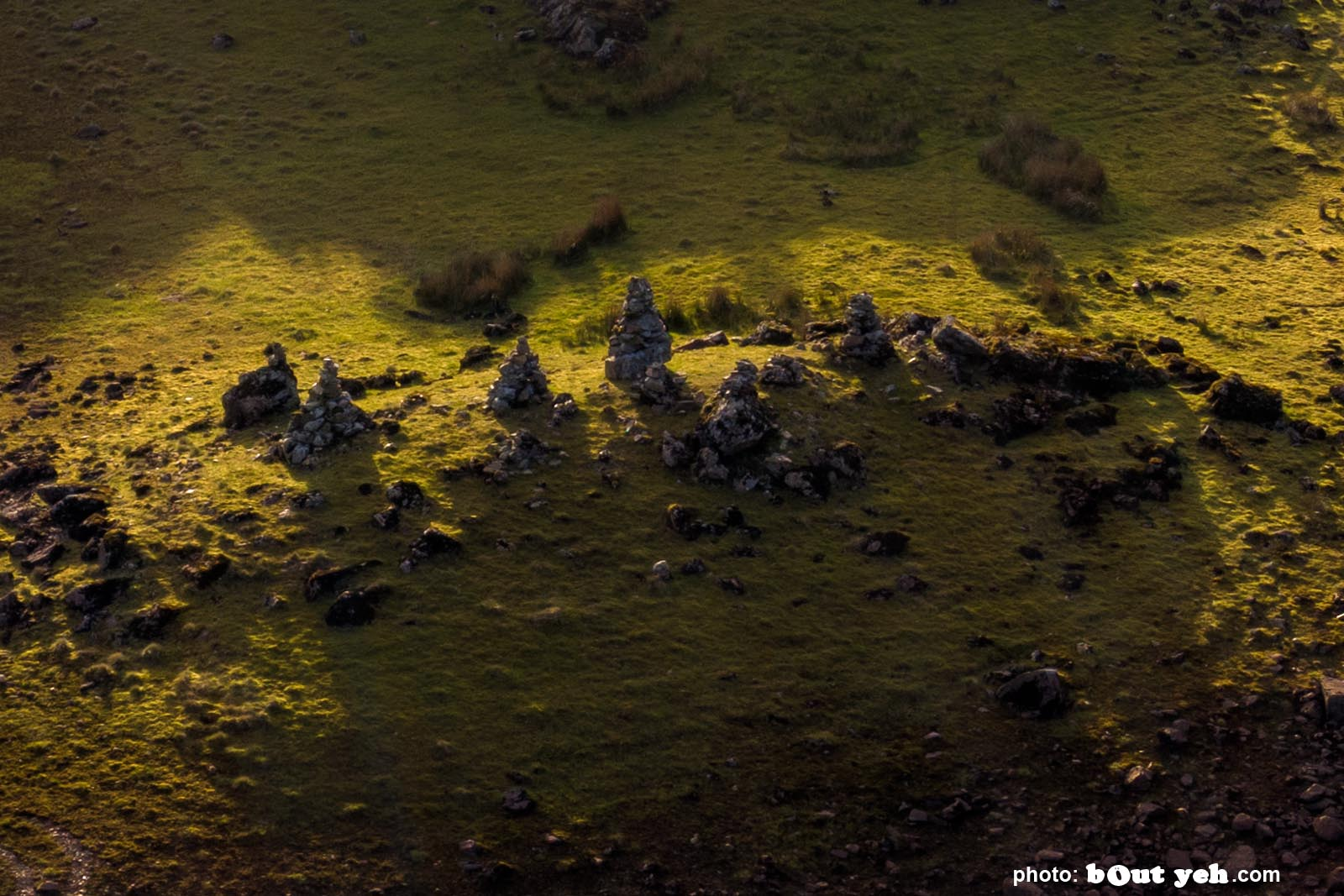 Aerial photo of Loughareema showing detail of a rock formation - drone photography and video by Bout Yeh photographers Belfast. Photo 280421